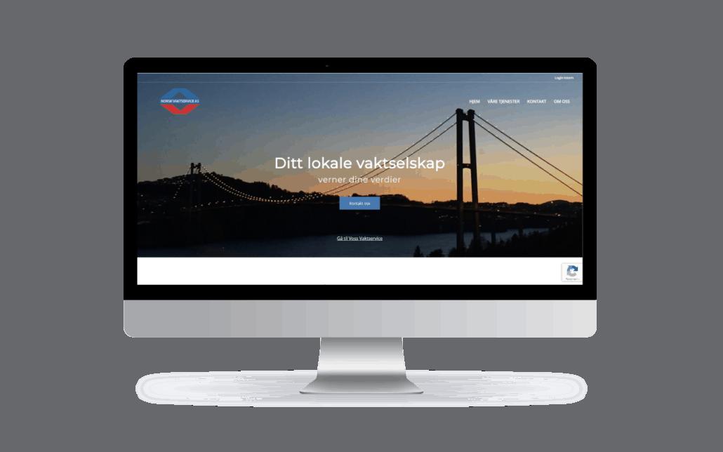 Pc-skjerm med demo av norskvaktservice.no