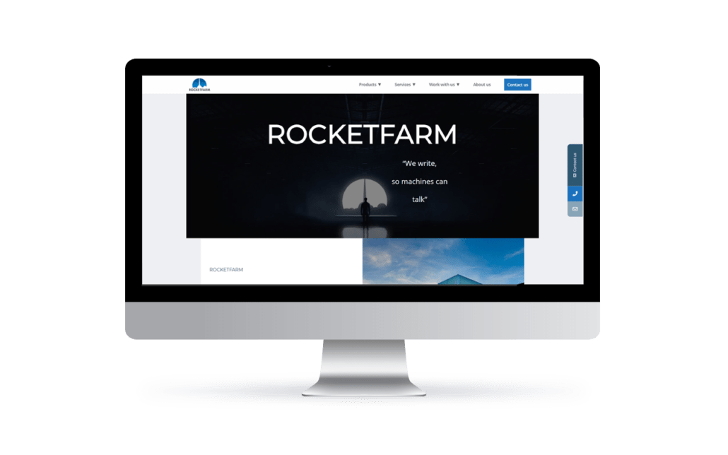 PC-skjerm med demo av rocketfarm.no